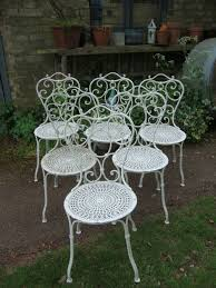 french wrought iron set 6 garden chairs