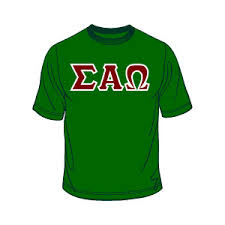 sigma alpha omega lettered greek shirt