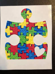 Autism Puzzle Piece With Heart Decal Autism Awareness Car Etsy