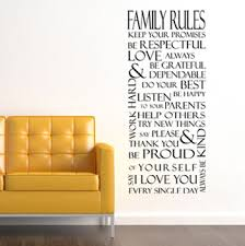 Family Rules Rectangle Wall Decals Trading Phrases