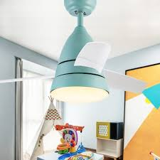 Macaroon Blue Pink Led Kids Room Ceiling Fan With 3 Blade 10 24 Inch Width Beautifulhalo Com