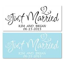 Amazon Com Personalized Just Married Wedding Sign Vinyl Decal Sticker For Cars Trucks Handmade