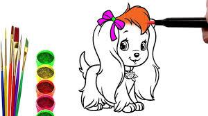 TÔ MÀU   Bé Vẽ Tranh và Tô Màu Con Chó Cảnh   Bé Tập Tô Màu Em Bé ...
