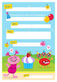 Invitacion Linda Del Monstruo Tarjeta De Cumpleanos Ilustraciones