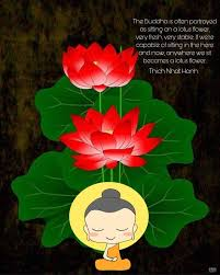 the buddha is often portrayed as sitting on a lotus flower very