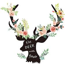 Amazon Com Eanur Wall Sticker Deer And Flowers Wall Decal Peel And Stick Vinyl Decals Large Removable Creative Wall Stickers Home Decor Wall Art Decoration Decor For Living Room Bedroom Office Home