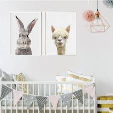 Nursery Farm Animal Canvas Painting Nordic Style Kawaii Animal Wall Art Bunny Zebra Posters And Prints Picture Kids Room Decor Painting Calligraphy Aliexpress