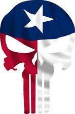 Punisher Skull Texas Flag Window Decal Sticker Graphic Multiple Size Buckup Tactical