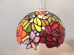 antiqued stained glass pendant lamp