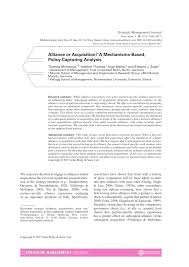 PDF) Alliance or Acquisition? A Mechanisms-Based, Policy-Capturing ...