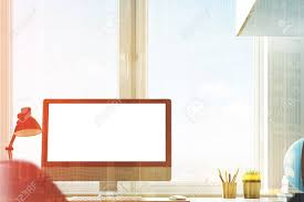 Close Up Of A Blank Computer Monitor Standing On A Table In A Stock Photo Picture And Royalty Free Image Image 80485864