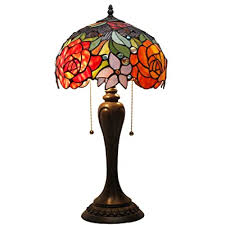 Tiffany Lamp Antique Style Stained Glass Table Lamps 22 Inch Tall 12 Inch Wide Red Rose