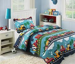 Hnnsi 100 Cotton 2pcs Kids Quilt Bedspread Set Twin Size For Boys Cute Print Train