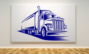 Semi Truck 18 Wheeler Large Wall Art Vinyl Decal Your Choice Of Color 22x34 Ebay