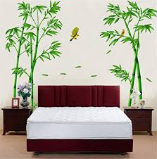 Amazon Com Bibitime Nature Green Bamboo Decor Sticker Flying Birds Oriole Wall Decal Living Room Background Vinyl Art Mural For Bedrooms Walk In Closet Arts Crafts Sewing