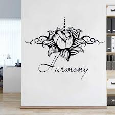 Lotus Flower Harmony Quotations Wall Decal Mandala Flower Vinyl Stickers Yoga Studio Namaste Home Decor Headboard Posters Dg341 Wall Stickers Aliexpress