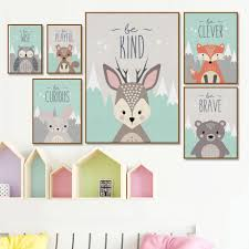 Deer Rabbit Bear Fox Owl Nursery Wall Art Canvas Painting Nordic Posters And Prints Wall Pictures Girl Boy Baby Kids Room Decor Painting Calligraphy Aliexpress