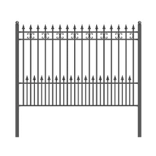 Hampton Bay Empire 30 In X 36 In Black Steel 3 Rail Fence Panel 860190 The Home Depot Steel Fence Panels Steel Fence Iron Fence Panels