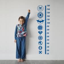 Growth Chart Decal Superhero Sticker Height Chart Wall Decal Ruler Decal Nursery Decor Kids Room Decor Superhero