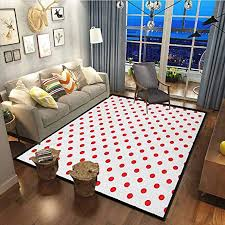 Amazon Com Red Kids Room Rug Modern Indoor Home Living Room Floor Carpet Classical Pattern With Country Picnic Theme Retro Style Polka Dots Geometrical Spots Red White27x36 Inch Kitchen Dining