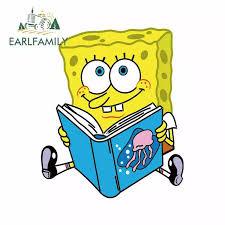 Earlfamily 13cm X 11cm For Spongebob Is Reading A Book Car Stickers Car Scratch Proof Waterproof Custom Printing Window Decal Car Stickers Aliexpress
