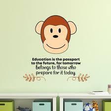 Zoomie Kids Education Monkey Animal Life Quote Cartoon Quotes Wall Sticker Art Design Decal For Girls Boys Kids Room Home Decor Wall Art Vinyl 20x18 Inch Wayfair