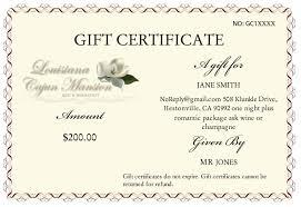 gift certificate louisiana cajun