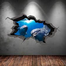 Underwater Cracked Cave Aquarium Dolphin Fish 3d Wall Art Sticker Boys Decal Mural New 9 Check This Aweso Graphic Wall Art Wall Stickers Murals Wall Graphics