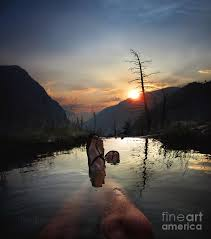 Triple Spring Sunset - Iva Bell Hot Springs - Sierra Photograph by Bruce  Lemons