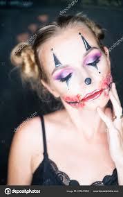closeup face woman creepy