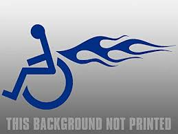 Amazon Com Jr Studio 3x5 5 Inch Left Facing Blue Wheelchair W Flames Sticker Handicapped Fire Car Vinyl Decal Sticker Car Waterproof Car Decal Bumper Sticker Kitchen Dining