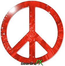 Amazon Com Wraptorskinz Stardust Red Peace Sign Car Window Decal 6 X 6 Inches Automotive