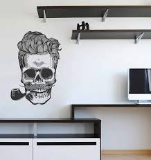 Skull Wall Decals The Dead Skull Wall Decals Tobacco Pipe Wall Etsy