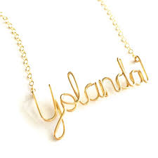 14k solid gold childrens name necklace