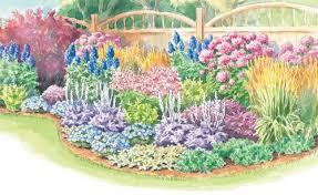 border garden plan features shrubs