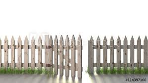 Wooden Fence With Open Gate Isolated On White A Wooden Picket Fence With Peeling White Paint With An Open Gate And Grass Growing At Its Base Buy This Stock Photo And