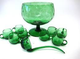 green art glass punch bowl set