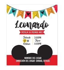 Invitacion Cumpleanos Mickey Disenos Personalizados