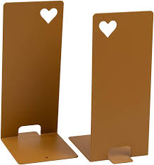 Juvale 1 Pair Antique Gold Bookends Non Skid Metal Bookend Supports With Heart Cutout For Shelf Kids Room School Dorm Office Desk Home Decor And Library 4 2 X 3 7 X 7 9 Incheshome Kitchen B07dkz38rr