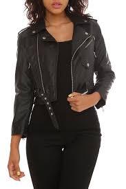 cropped leather moto jacket goth