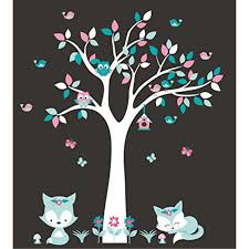 Forest Wall Decals Nursery Wall Decals White Tree Decal Fox Decal Owl Decal Butterfly Decal Woodland Animal Stickers Baby Room Baby Decals Wall Dcor Wall Decals Nursery Walmart Com Walmart Com
