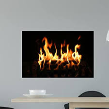 Amazon Com Wallmonkeys Burning Log Wall Decal Peel And Stick Graphic Wm270387 24 In W X 16 In H Home Kitchen