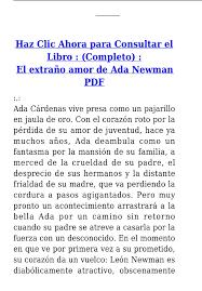 El Extraño Amor de Ada Newman PDF - [PDF Document]