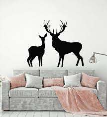Vinyl Wall Decal Deer Family Forest Animals Nature Hunting Room Sticke Wallstickers4you
