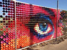 This Is Made With An Actual Chain Link Fence Art Product Called Put In Cups Description From Pinterest Com I Searched For Thi Cup Art Fence Art Outdoor Art