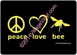 Vinyl Decal Honey Bee Window Decal Peace Love Bee Car Etsy