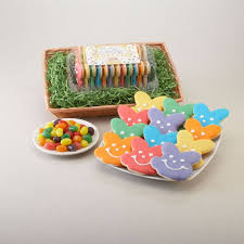 easter gift basket bunny cookies and