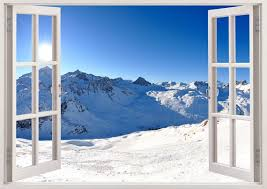 Snow Mountains Wall Stickers Window Snow Mountain Decals For Etsy