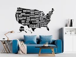 Large Usa Map Wall Decal Usa Map Wall Sticker United States Etsy