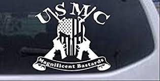 Amazon Com Rad Dezigns Usmc United States Marine Corps Magnificent Bastards Punisher Skull Us Flag Crossed Ar15 Guns Military Car Or Truck Window Laptop Decal Sticker White 6in X 6 7in Automotive